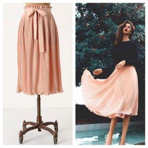 Anthropologie Hunter Dixon pleated blush skirt